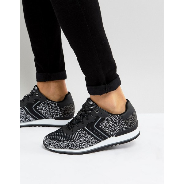 ボス メンズ スニーカー シューズ BOSS Parkour Knitted Running Trainers in Black 1