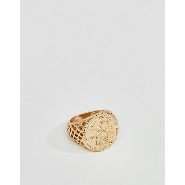エイソス メンズ リング アクセサリー ASOS DESIGN vintage style sovereign coin ring in gold tone Gold