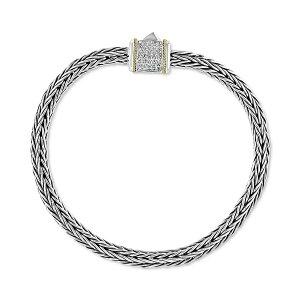 エフィー コレクション レディース ブレスレット・バングル・アンクレット アクセサリー EFFY Diamond Barrel Cluster Woven Link Bracelet (1/6 ct. t.w.) in Sterling Silver & 18k Gold Sterling Silver & Yellow Gold