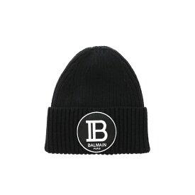 バルマン メンズ 帽子 アクセサリー Balmain Logo Patch Wool Beanie Nero