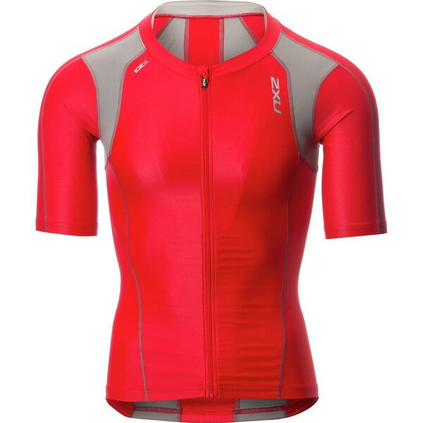 2XU メンズ サイクリング スポーツ 2XU Compression Sleeved Tri Top - Men's Flame Scarlet/Frost Grey