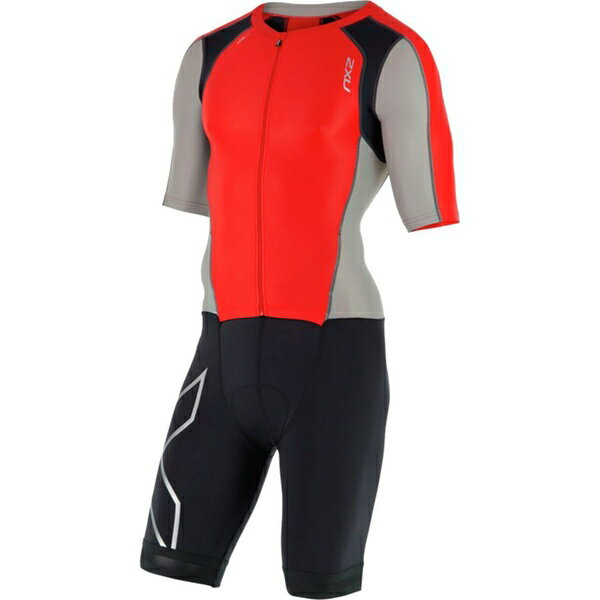 2XU メンズ サイクリング スポーツ 2XU Compression Full-Zip Sleeved Tri Suit Flame Scarlet/Frost Grey