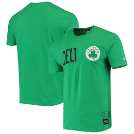 ニューエラ メンズ Tシャツ トップス Boston Celtics New Era Wordmark Logo Cut & Sew Applique Brushed T-Shirt Kelly Green