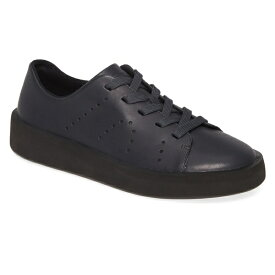 カンペール レディース スニーカー シューズ Camper Courb Perforated Low Top Sneaker (Women) Dark Grey Leather
