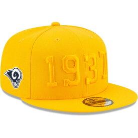 ニューエラ メンズ 帽子 アクセサリー Los Angeles Rams New Era 2019 NFL Sideline Color Rush 9FIFTY Adjustable Snapback Hat Gold