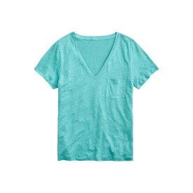 ジェイクルー レディース シャツ トップス Linen V-Neck Pocket T-Shirt Misty Turquoise