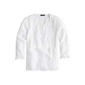 ジェイクルー レディース シャツ トップス Jumento Embellished Bib Blouse in Linen White
