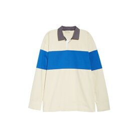 マルニ メンズ ポロシャツ トップス Marni Long Sleeve Rugby Shirt (Nordstrom Exclusive) Off White / Blue