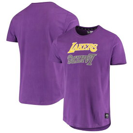 ニューエラ メンズ Tシャツ トップス Los Angeles Lakers New Era Brushed Jersey Wordmark Reflection Applique T-Shirt Purple