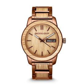 オリジナル・グレイン レディース 腕時計 アクセサリー Men's Whiskey Barrel Wood paired with Espresso Stainless Steel Bracelet Watch 42mm Multi