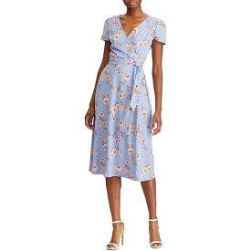 ラルフローレン レディース ワンピース トップス Floral Print Midi Length Wrap Dress Hydrangea/Belle Rose