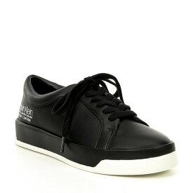 カルバンクライン レディース スニーカー シューズ Logo Fatima Leather Lace Up Sneakers Black