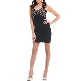 ゲス レディース ワンピース トップス Striped Criss Cross V-Neck Knit Bandage Mini Dress Navy Multi