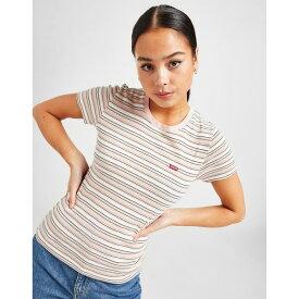 リーバイス レディース Tシャツ トップス Levis Small Logo Stripe T-Shirt pink