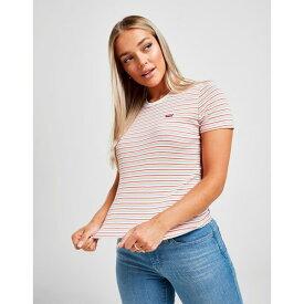 リーバイス レディース Tシャツ トップス Levis Small Logo Stripe T-Shirt white