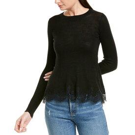 レベッカテイラー レディース パーカー・スウェットシャツ アウター Rebecca Taylor Lace Trim Wool-Blend Pullover black