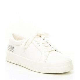 カルバンクライン レディース スニーカー シューズ Logo Fatima Leather Lace Up Sneakers White