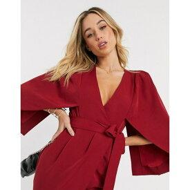 ラビッシュアリス レディース ワンピース トップス Lavish Alice cape midi wrap dress in burgundy Burgundy
