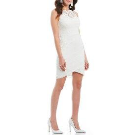 ゲス レディース ワンピース トップス Striped Lace Tulip Hem Sheath Dress Ivory