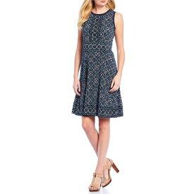 マイケルコース レディース ワンピース トップス Enchanted Carpet Border Print Matte Jersey Fit & Flare Dress True Navy/Sea Green