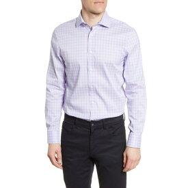 サイコバニー メンズ シャツ トップス Slim Fit Stretch Non-Iron Plaid Dress Shirt Lavender