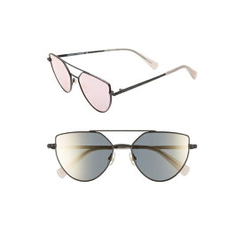 レベッカミンコフ レディース サングラス&アイウェア アクセサリー Rebecca Minkoff Stevie2 55mm Aviator Sunglasses Matte Black