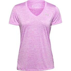 アンダーアーマー レディース シャツ トップス Under Armour Women's Twisted Tech V-neck T-shirt Purple