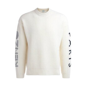 ケンゾー メンズ ニット&セーター アウター Kenzo Sweater In White Wool With Logo On The Sleeves BEIGE