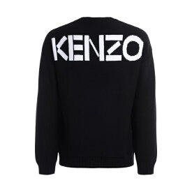 ケンゾー メンズ ニット&セーター アウター Kenzo Over Sweater In Black Cotton With Kenzo Logo On The Back NERO