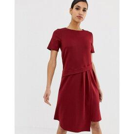 エイソス レディース ワンピース トップス ASOS DESIGN oversized drape midi t-shirt dress Burgundy