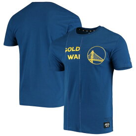 ニューエラ メンズ Tシャツ トップス Golden State Warriors New Era Wordmark Logo Cut & Sew Applique Brushed T-Shirt Royal