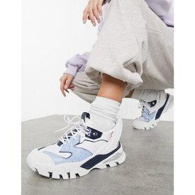カルバンクライン レディース スニーカー シューズ Calvin Klein Jeans clarice chunky sneakers in white and blue mix White/chambray blue/