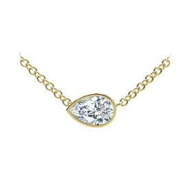 フォーエバーマーク レディース ネックレス・チョーカー・ペンダントトップ アクセサリー Tribute Collection Pear Diamond (1/3 ct. t.w.) Necklace with Mill-Grain in 18k Yellow, White and Rose Gold Yellow Gold