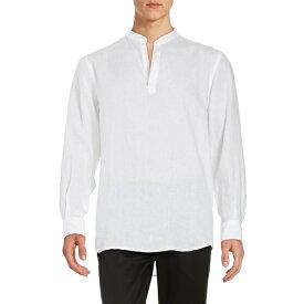 ペリーエリス メンズ シャツ トップス Linen Popover Shirt Bright White