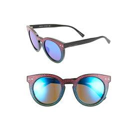 レベッカミンコフ レディース サングラス&アイウェア アクセサリー Rebecca Minkoff Patti1 49mm Round Sunglasses Black Multicolor