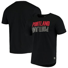 ニューエラ メンズ Tシャツ トップス Portland Trail Blazers New Era Brushed Jersey Wordmark Reflection Applique T-Shirt Black