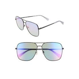 レベッカミンコフ レディース サングラス&アイウェア アクセサリー Rebecca Minkoff Stevie3 61mm Aviator Sunglasses Black/ Matte Black