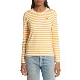 コムデギャルソン レディース Tシャツ トップス Comme des Garons PLAY Stripe Tee Yellow