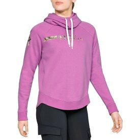 アンダーアーマー レディース パーカー・スウェットシャツ アウター Under Armour Women's Favorite Fleece Camo Logo Hoodie FluoFuchsia/RTEdge