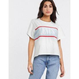リーバイス レディース Tシャツ トップス Levi's serif logo color block t shirt in white White/baby blue
