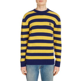 ロエベ メンズ ニット&セーター アウター Loewe Anagram Crewneck Stripe Wool & Cashmere Sweater Navy/ Yellow
