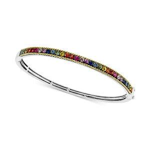 エフィー コレクション レディース ブレスレット・バングル・アンクレット アクセサリー EFFY Multi-Sapphire Bangle Bracelet (2-3/4 ct. t.w.) in Sterling Silver & 18k Gold Multi