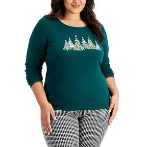 ケレンスコット レディース カットソー トップス Plus Size Embellished Holiday Cotton Top Spruce Night