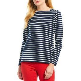 ジュールズ レディース Tシャツ トップス Matilde Square Neck Long Sleeve Nautical Stripe Knit Cotton Top French Navy Stripe