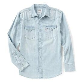 リーバイス メンズ シャツ トップス Levi's Young Men's Slim Fit Barstow Solid Snap-Front Denim Shirt Wash Blue Bleach