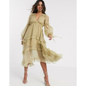 エイソス レディース ワンピース トップス ASOS DESIGN metallic jacquard blouson midi dress with lace and ruffle trim detail Gold