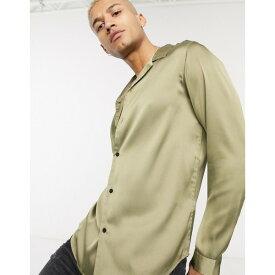 エイソス メンズ シャツ トップス ASOS DESIGN regular fit satin shirt with revere collar in khaki Khaki