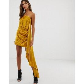 エイソス レディース ワンピース トップス ASOS EDITION satin bandeau mini dress with drape side Gold