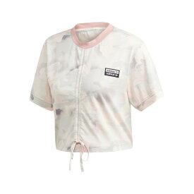 アディダス レディース カットソー トップス Ruched Camouflage Cotton Tee Chalk White Desert Pink