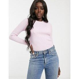エイソス レディース ニット&セーター アウター ASOS DESIGN crew neck sweater in skinny rib Pink